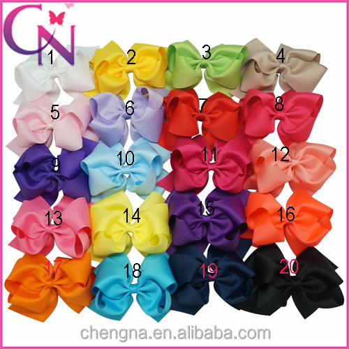 CNHBW-1412035 Plain Colored Ribbon 6 inch Double Stacked Elegant Hair Bows