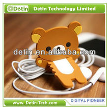 New Fashion Rilakkuma Bear Strap silicone rubber headphone cable tidy
