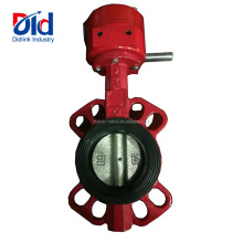PN16 Cast Iron Wafer Center Line Worm Gear Clamped With Gearbox Fire Water Control Signal Butterfly Valve
