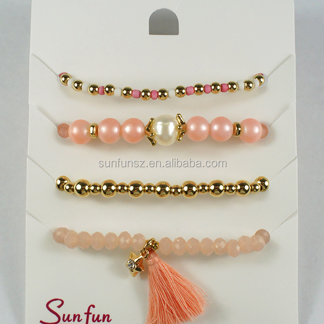 newest design elastic thread plastic beads diy bracelet set