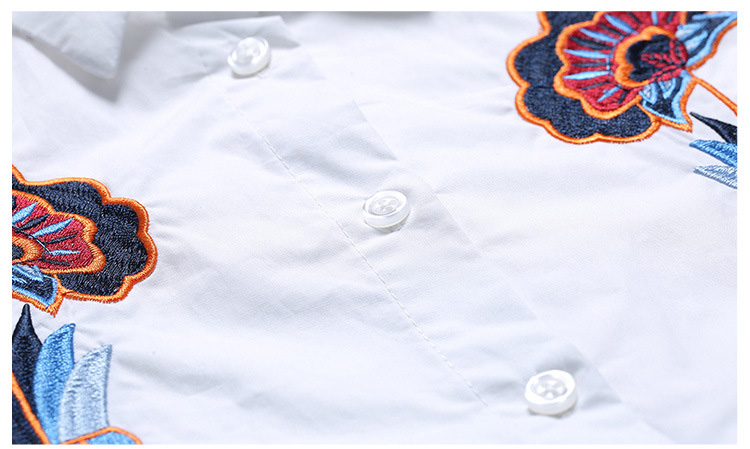 Ladies white Loose thin embroidery lapel cotton base shirt