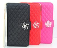 Luxury rhinestone case for iPhone 5S mobile pouch / for iPhone 5S camellia leather case / wallet leather case for iPhone5 5S