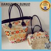 colorful lady paper straw beach bags with leather handle