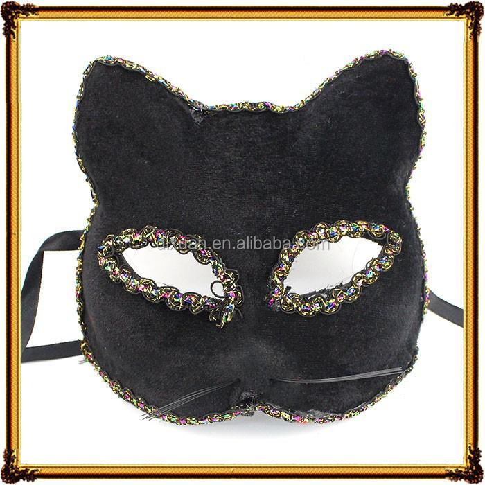 2015 hot Sell Sexy Plastic PVC Animal Face Cat Black Mask