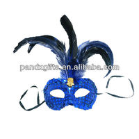 masquerade party mask with peacock feather
