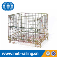 Collapsible storage stackable folding industrial warehouse wire storage cage
