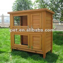Newly 3FT Small Outdoor Double Decker Wooden Rabbit Cage with Plastic Trays