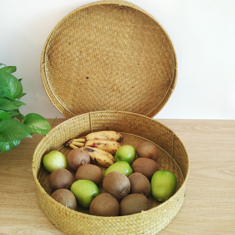 Round Food Prevent Receive box Storage Natural Weaving Seagrass Basket Box with lid