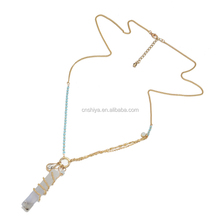 XL-k4 thin long chain design necklace, light blue rectangle stone necklace,woman statement necklace 2016