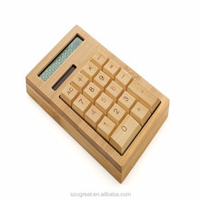Shenzhen factory Good Quality cheap price flat bamboo calculator 12 digits, 18 keys solar powered bamboo calculator