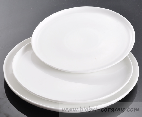 Round shaped plain white elegant design customized hotel for Plain white plates ikea