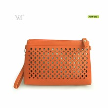 leather die-cut cost-effectivce luxury makeup pouch for shopping clutch bag