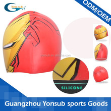 iron man cheap cartoon colorful silicone swimming cap for kids