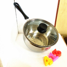 Stainless steel milk pot milk boiler milk boiling pot cook pan with glass lid for sale
