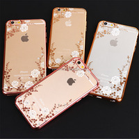 New Product Ideas Flower Design Protective Back Cover Electroplate Mobile Phone Case Tpu For Iphone 6/6s