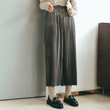 Spring Fashion Women pleated velvet wide legs pants casual spring fashion ladies pants