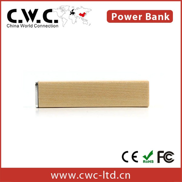 Newest Portable wooden Shape 2600mAh PVC Custom Power Bank