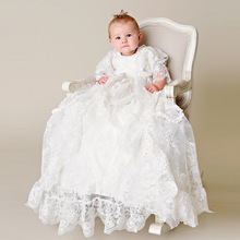 Heirloom Back Button Silk Baptism Dress Three Quarter Formal Ruffled Lace Embroidery Baby Boy Christening Gowns