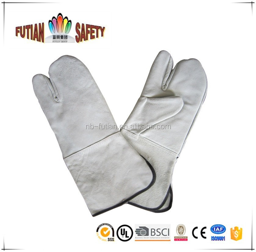 "FTSAFETY 14"" cow leather two finger glove with CE certification for anti-heat"