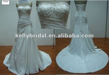 side drape with beading lace bodice bridal gown