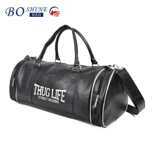 2016 Black Durable High End PU Overnight Duffel Round Travel Bag for Men