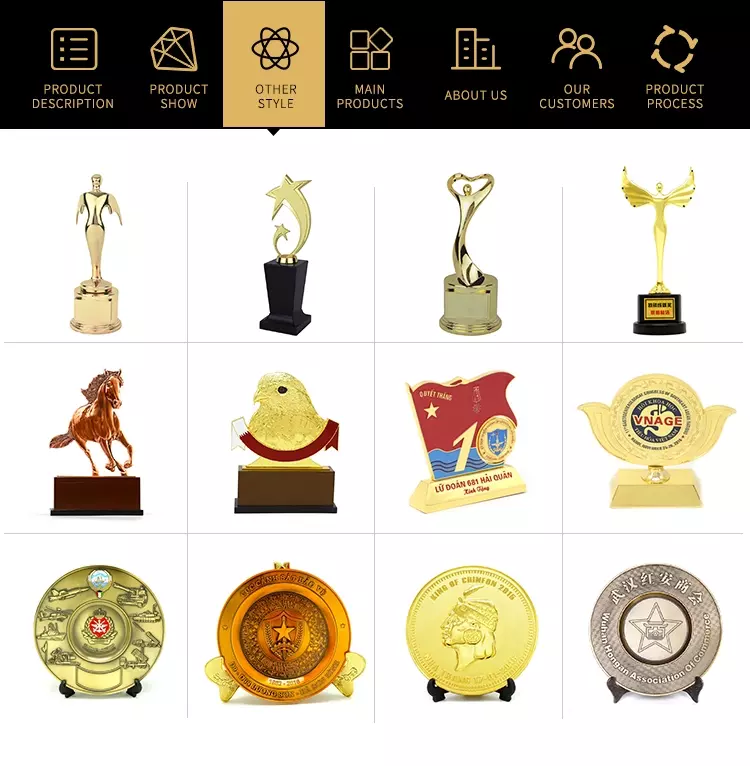 Wholesale zinc alloy high-end gold plated oscar award metal trophy