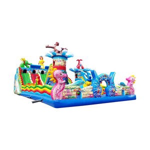 colorful inflatable bouncer castle park amusement playground climbing slides