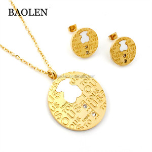 Stainless Steel Round Engrave Bear Word Latest Design Modern Crystal Pendant Jewelry Women Fine Jewelry Sets