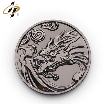 Black metal basso-relievo logo Chinese dragon bulk coin producer