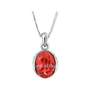 White Gold Plated Alloy&Austria Crystal&rhinestone Red Pendant Necklace 18""