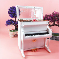 Classical Rotary Ballet Dancing Figurine Piano Shape Music Box with light