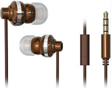Newest in-ear 3D Earphone Metal Dual Speaker for iPhone iPod iPad Samsung HTC MP3/4-- Brown 1M