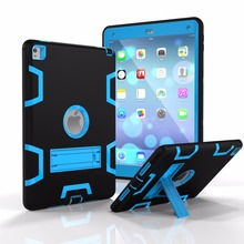 TPU and PC hard Strong Combo back shell Contrast color With stand 3in1 Shockproof Case for ipad air 2 3 pro 9.7 Cover