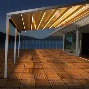 Electric Waterproof Deck Terrace Roof Covered Deck Awning Retractable with LED