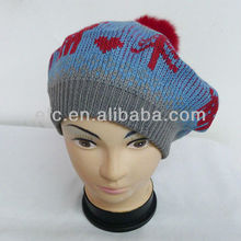 Trendy Jacquard Knit Cute Beret With Pompon