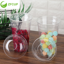 ZFCUP 32oz Disposable Plastic Cup With Lids 1000 ml Clear Plastic Big Capacity Cup