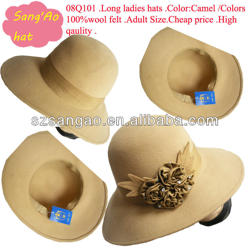 wholesale/Manufacture wide brim carnival wool party caps ladiesas fabric flower warm caps100% wool felt wear for girls/baby