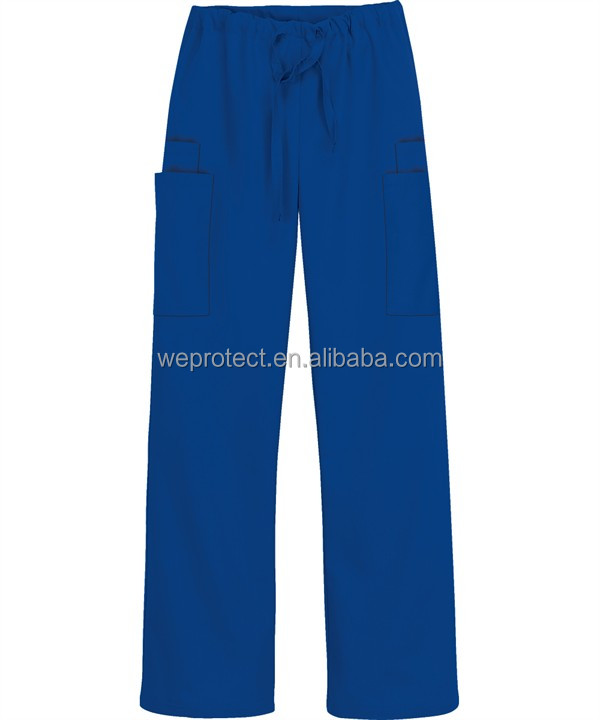 Poly Cotton Rope Waist Long Pants Medical Scrubs Trousers