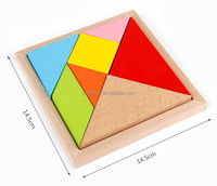 Wooden 7 piece jigsaw tangram puzzle colorful square IQ game brain teaser intelligent educational toys for kids