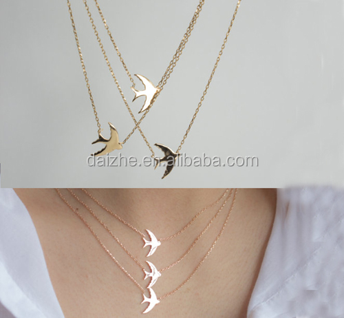 fashion women plain 925 sterling silver cheap wholesale cute bird Swallow necklace