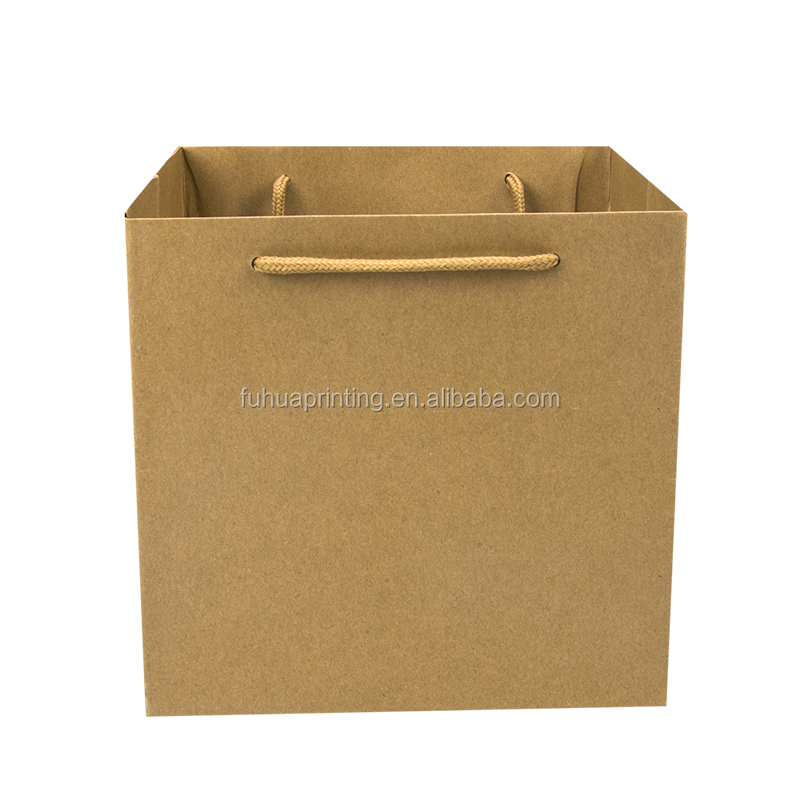 Cheap recycled brown kraft paper bag with handle
