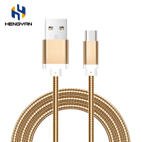 Luxury Metal Stainless Steel Elastic Fast Charging Spring Usb Cable For Android