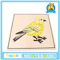 montessori materials,montessori toys,educational Wooden Toy - Wood -Bird Puzzle.