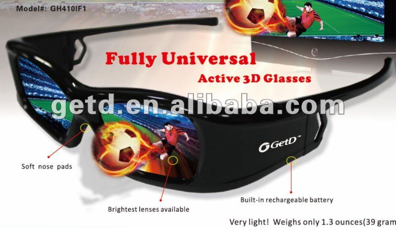 universal rf active 3d glasses compatible with Samsung 3D TVs