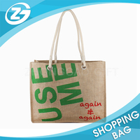 380gsm Fashion Promotion Custom Cheap Handle Shopping Jute Bag