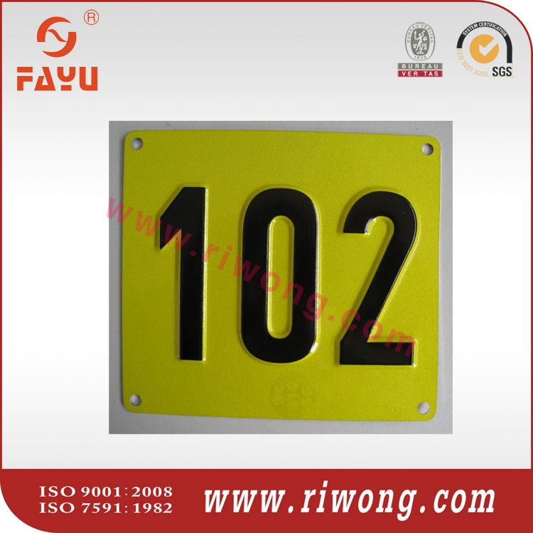 Aluminum sign plate, sign number