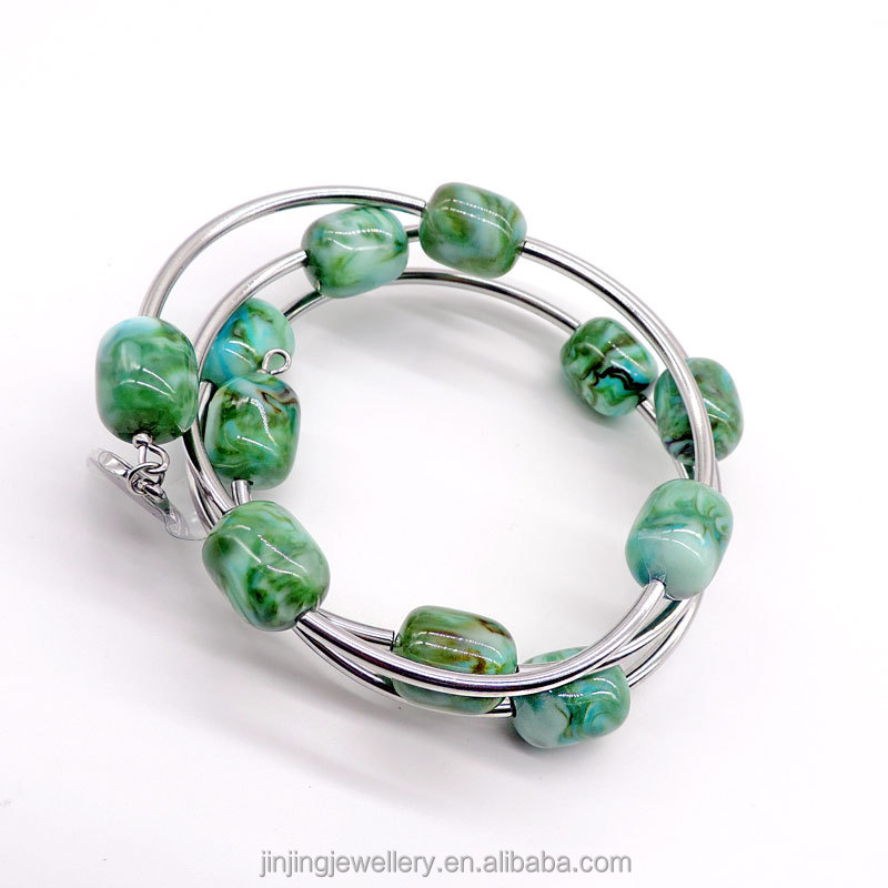 New arrival latest Fashion Style Jewelry 316L Stainless Steel women's turquoise make beaded Bangle
