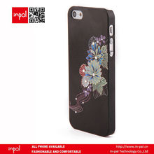 Elegant classy flower pattern with crystal protective cell phone cover case for iphone 5 - black
