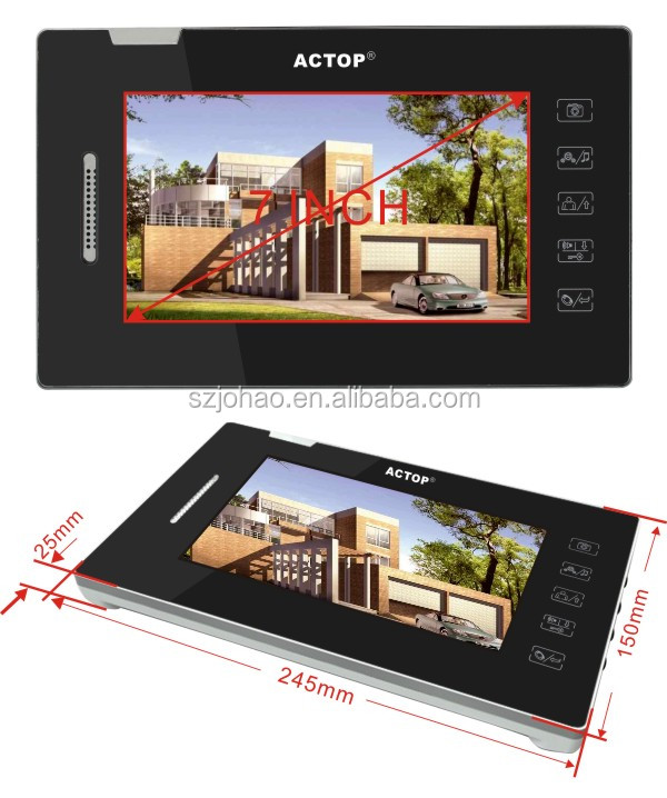"Security Access control ACTOP 7"" color 2-way video intercom with touch screen"