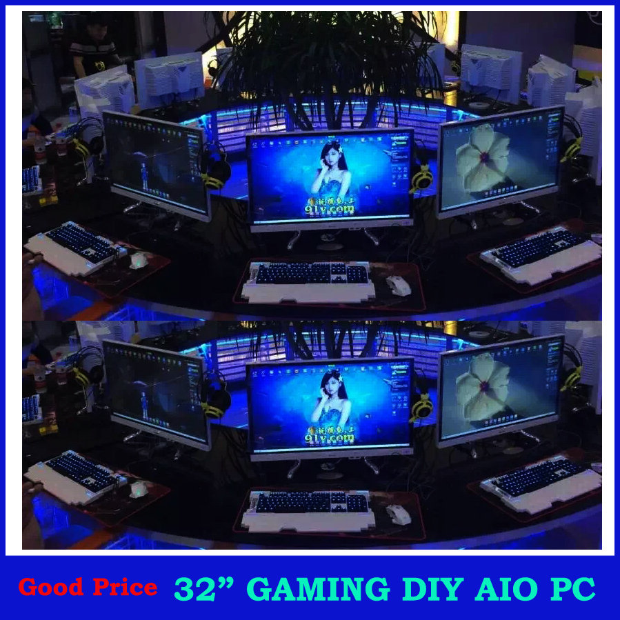 "New invention of computer ,all in one pc with 32"" LED monitor DIY computer hardware, assembled desktop computer gaming pc"